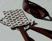 Luggage Tag, Baggage Tags, Distinctive Handprinted Brown and White Fabric