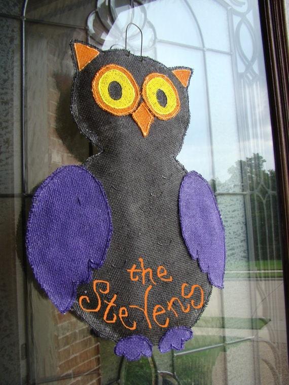 Items similar to Hootie the Owl Halloween hand painted  ~ 102409_Halloween Owl Door Hanger