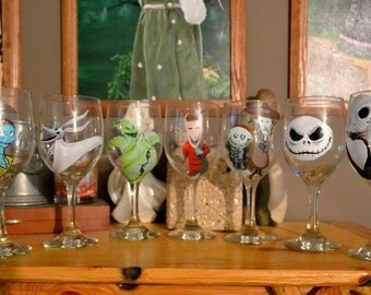 Build your own Nightmare Before Christmas wine glass set (limited time sale)