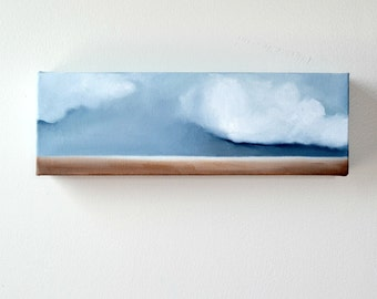 Cloud Landscape original oil painting wall art storm abstract neutral rustic colors home decor - Latitude series twelve