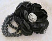Wrist Corsage Licorice Black Romantic Rose Pearl Bracelet Bridesmaid Mother of the Bride Prom with Rhinestone Accent Custom Order