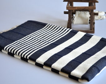 Beach Towel - Turkish Peshtemal Towel - Denim Blue - ivory stripes