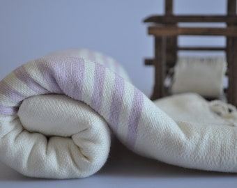 Peshtemal Towel - Turkish Towel for beach and bath in Ivory color , lilac striped , cotton towel