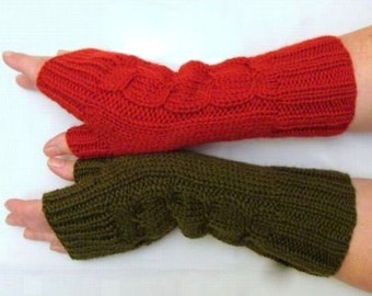 Beautiful hand knitted mittens. Fingerless gloves for ladies, available in many colours.