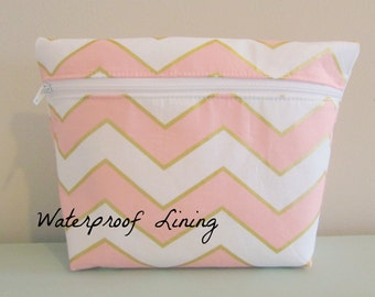 Chevron Makeup Bag - Glitz Fabric -  Cosmetic Bag - Waterproof Bag - Wet Bag