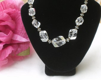 Necklace - Crystal Beads - Clear Beads - Vintage