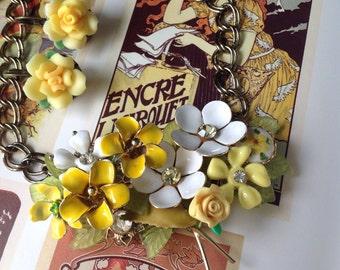 Vintage Handmade Ooak Love Rose Yellow Enamel Rhinestone Flower Necklace Earrings Set