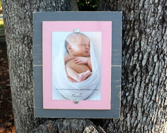 Distressed Picture Frame, Pink Frame, 5x7 Picture Frame, Rustic Frame, Grey Frame, Wood Plank Frame
