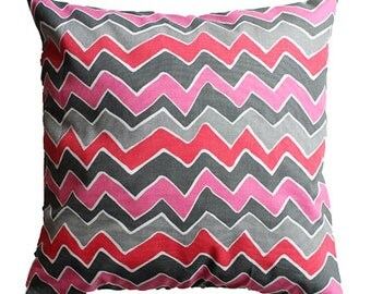 """CLEARANCE SALE!!!! Pink & Gray Chevron Zig Zag Pillow Cover - 18"""" x 18"""" Decorative Pillow Cover"""