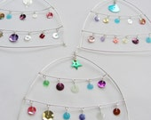 Gorgeous wire and multi coloured sequin hanging ornaments for Christmas tree or wedding decoration - MULTI PACK of 5