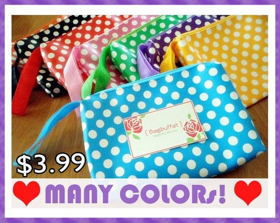 Girl baby shower favors, party favors or a pencil pouch - Polka Dot