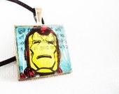 Classic Retro Marvel Ironman Avengers Glass Pendant Necklace