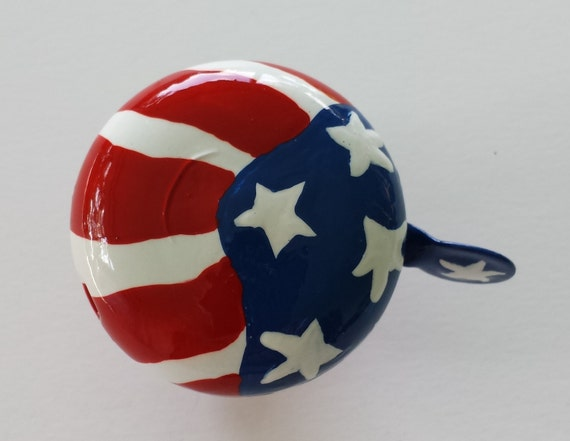 Bike Bell American Flag patriot red white blue old glory Hand Painted Metal
