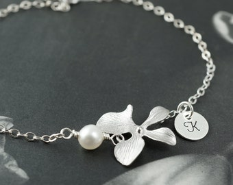 Personalized bracelet, silver bracelet with orchid charm, custom initial, hand stamped initial, bridesmaids gift