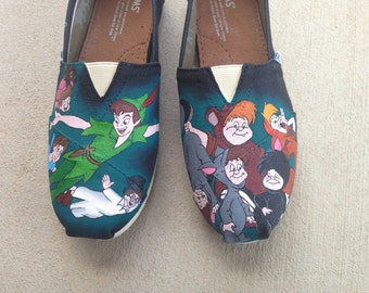 Custom Hand Painted Shoes - Peter Pan