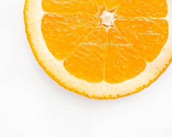 still life photography, orange slice print, kitchen print, fruit print
