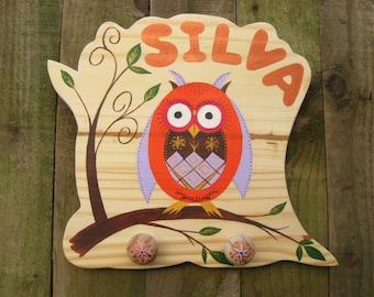 Personalised Coat Hooks, Children's Owl Coat Hooks, Coat Pegs, Hand Painted Wooden Coat Hooks with Owl Design