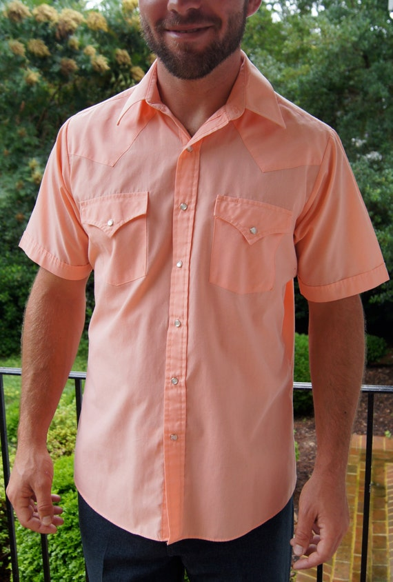 Items similar to mens coral country western shirt with for Coral shirts for guys