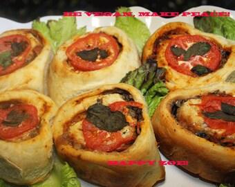 Vegan Amazing Pizza Rolls stuffed with mushrooms,veggies, natural,healthy ingredients,wedding,birthday,love.