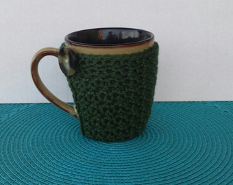 Dark Sage Green Mug Coaster Cozy
