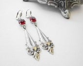 Gothic Earrings - Blood Red Glass - Victorian Vampire Wedding