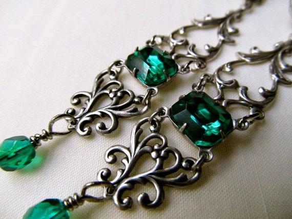 Emerald Green Earrings Sterling Silver Earrings Filigree Drop Earrings- Envy