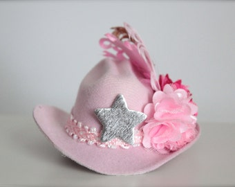 Pink MINI Cowgirl Hat/Headband with pink, hot pink and brown accent flowers and feathers - made to match the Cowgirls Rule Tutu