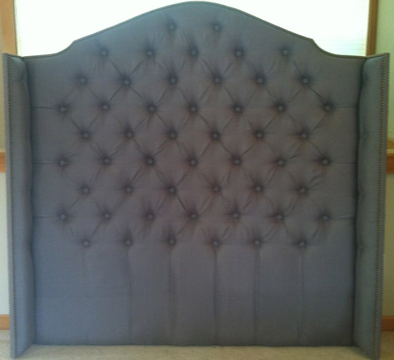 Diamond Tufted Linen Wingback Headboard Queen by samanthadanielle