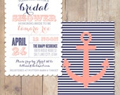 Vintage Nautical Scalloped Bridal Shower Invitation Printable Invite OR Printed Card
