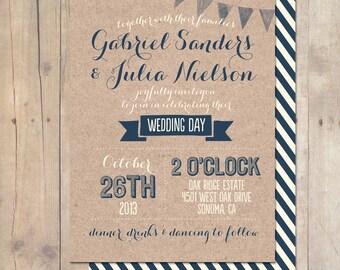 Whimsical Rustic Kraft Paper Wedding Invitation Printable OR Professionally Printed Card