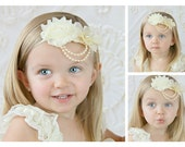 Ivory Shabby Chiffon Hydrangea Flower With Pearl Bling Cluster Stretch Headband Newborn Toddler Vintage Antique Headands Flower Girl Wedding