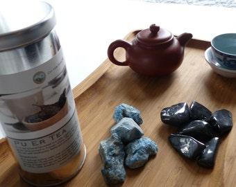Stone and tea gift set- 80 grams loose tea, stones, large aged pu er tea, apatite, shungite, holiday gift set, stocking stuffer, christmas