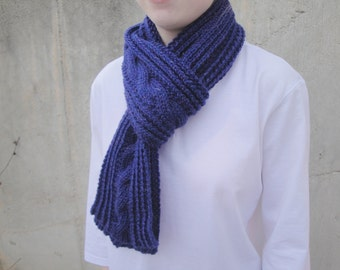 Sparkly Purple Scarf with Cables, Long Knit Scarf, Hand Knit Soft Wool, Women and Teen Girls, Chic Winter Scarf