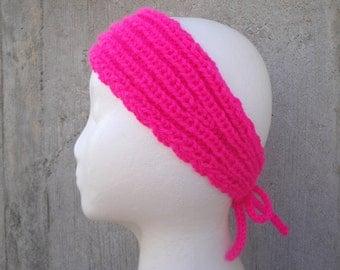 Neon Pink Headband, Tie Back, Hand Knit, Bandana, Head Scarf, Boho Fashion, Trendy