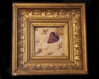 SALE-Antique French Multi Reliquary w Bleeding Sacred Heart In Lovely Gold Frame