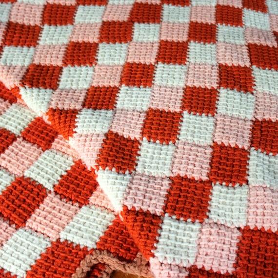 Vintage Crochet Afghan Orange Peach White Squares Tumbling Blocks