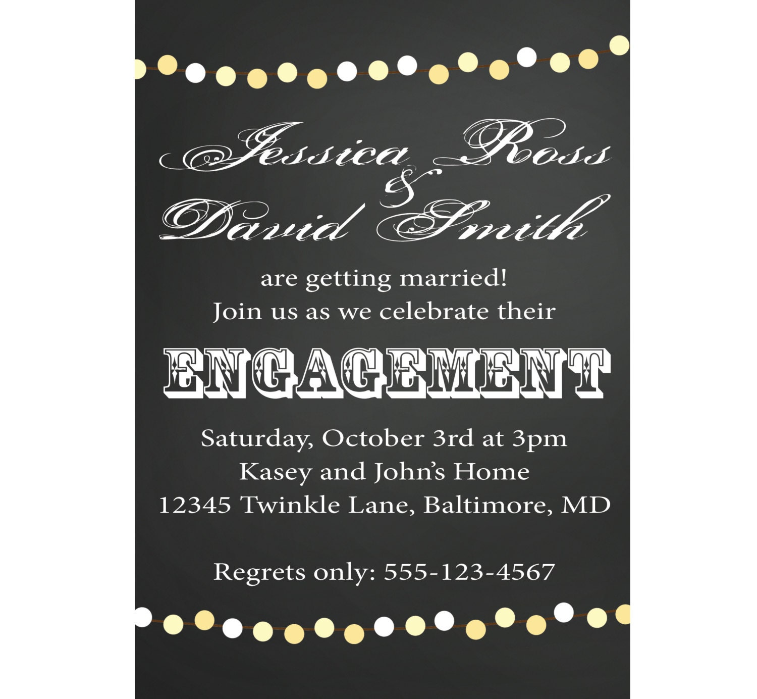 Chalkboard Engagement Party Invitation or by CowPrintDesigns – How to Word Engagement Party Invitations