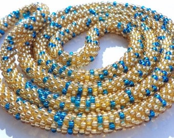 Crocheted Beaded Necklace/Bracelet  -  Gold and blue