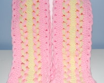 Pink & Yellow Hairpin Lace Scarf
