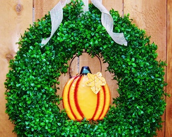 RUSTIC PRIMITIVE PUMPKIN Boxwood Door Wreath-Fall Wreath-Halloween Wreath-Front Door Wreath-Fall Door Wreath-Fall Door Decor-Wreath-Wreaths