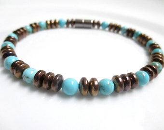 Magnetic Copper Bracelet With Turquoise Accents