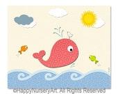 Baby girl nursery art, kids room art, baby room decor, children's art, whale, ocean