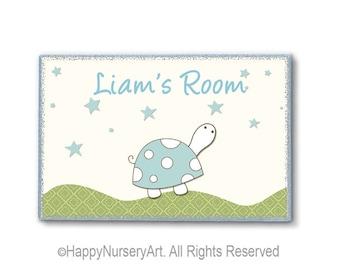 Nursery door sign, personalized nursery sign, kids door plaque, children art, turtle, art for boys room, nursery decor girl,nursery art