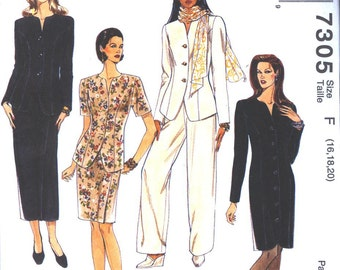 Sewing pattern McCalls 7305  - unlined Office Suit with Skirt in 2 lengths, and Pants, Slim Dress, Misses/ Miss Petite -  sz 16 - 20
