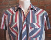 Mens LARGE cowboy shirt, Wrangler, vintage, blue green and red striped, pearl snaps (434)