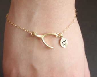 SALE- Personalized wishbone, Initial leaf 14k gold filled bracelet, Familly bracelet, Love Bracelet