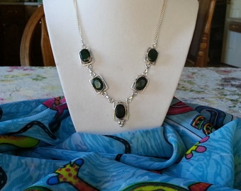 PRICE REDUCED ..Emerald Green Quartz and Silver 925 Necklace