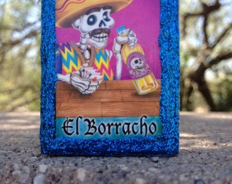 Loteria Day of the Dead Matchbox, El Borracho (drunk) and La Mano (hand)