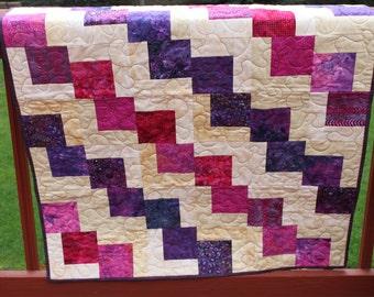 "Lap Quilt ""Scattered Squares"" Handmade Batik Quilt"