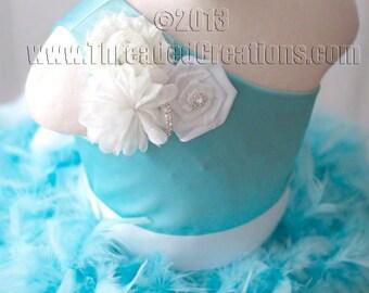 Feather Dress- Aqua Tutu Dress - Aqua Dress - Aqua Feather Dress - Tiffany dress